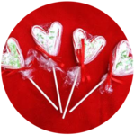 DIY Candy Cane Heart Lollipops
